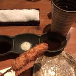 串仁 - 甘酢、塩、ソースでいただきます。
