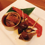 HAN COOK - 醤油漬け盛り合わせ(有頭海老, 帆立, つぶ貝)