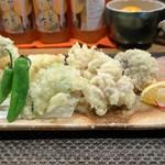 ぼちぼち - たら白子の天ぷらと旬野菜の天ぷら?