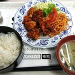札幌市役所本庁舎食堂 - 時計台定食(540円)、ピリ辛ザンギ