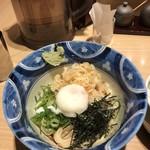 手延べうどん 水山 - 朝の釜玉うどんセット(ご飯)