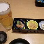 げんき - 生ビールと突出し3種