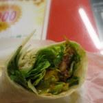 3Bタコス - チリビーンズロール(500円)野菜たっぷり。