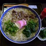 10129553 - 赤牛にゅうめん(700円)・・・このスープ美味しいのですよ。この辺りはクレソンの産地だそうで、お浸しが添えられていましたよ。