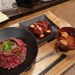 佰食屋 - ステーキ丼とお味噌汁とハンバーグ