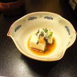 月亭 - そば粉豆腐(フグコース先付け)