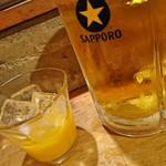 ロテヤキ。酒場。メリケン - 生ビールのデカいの~と鳳凰美田のみかん