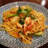 粉屋 - 料理写真:海老と菜の花、カブのトマトソース 柚子胡椒風味 1,000円。