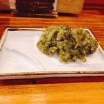 101333035 - 四万十青のり天ぷら お塩でいただきます♪
