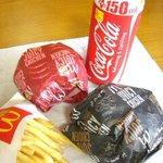 マクドナルド - ジューシーチキン赤とうがらし・ジューシーチキンブラックペッパー・フライドポテト(S)・コカ・コーラ