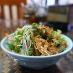 メッタ - フライドオニオン、レタス、水菜、ニンジン、紫玉ねぎのサラダ