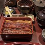 玉ゐ - 穴子箱めし中箱(香の物+お椀付き、2,950円)。
