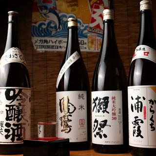 お料理に合わせる各地の日本酒、焼酎
