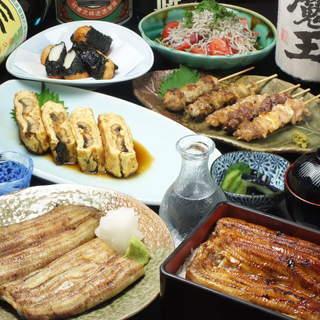 ふぐ料理(要予約)や刺身、焼き鳥などの多彩なメニュー