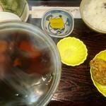 手打ちそば 菊園 - あんかけうどん670円+定食260円