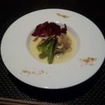 鮨 肉 酒肴 志 - 真鱈と真たちのムニエル 幕別産リーキのソース