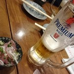 鉄火 武士道 - お通しと早割り生ビール190円