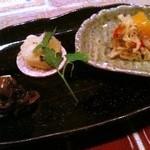 野菜料理と土鍋ごはんの店 侒 - 三菜八寸(三種のお野菜のお通し)