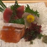 築地日本海 - 刺身三点盛り