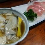 101478849 - カキ酢¥400-                       きんめ鯛さしみ¥450-