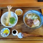 すえひろ家 - 「八(すえひろ)うどん ミニ天丼セット (1000円)」