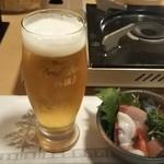 Izakayakappoutamura - 生ビール(中) 648円、さし盛り ♪