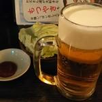 串屋横丁 - 生ビール、お通しキャベツ