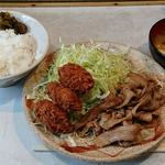 とんかつ三太 - とんかつ三太 @芝公園 豚しょうが焼定食+カキ2コ(1コ増量中)税込850円