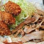とんかつ三太 - とんかつ三太 @芝公園 豚しょうが焼+カキ2コ(1コ増量中)
