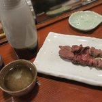 やきとり山平 - 日本酒 関山  とりレバー