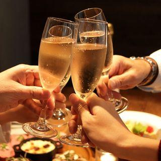 飲み放付パーティープランはスパークリングワインも飲み放題!!