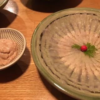 能古 - 料理写真:肝ダレで頂くカワハギ
