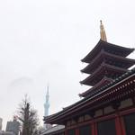 浅草メンチ - 寒空にスカイツリー