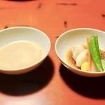 蘆月 - ゴマだれと野菜。