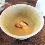 心根 - 先付 白子天ぷら 焼き椎茸 百合根すり流し