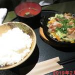 金の穂銀の水 - 若どりの塩ダレ焼き定食 \800