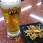 餃子の王将 - せんべろセットの生ビール・メンマ