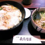 兵六そば - 親子丼とミニそばのランチセット@800