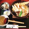 久下屋脩兵衛 - 料理写真:鍋焼きうどん+ちょこっとだけ釜揚げしらすご飯