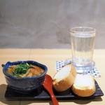 天ぷら串 山本家 - お通し(きのことトマトのアヒージョ)と龍神