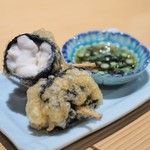 shinjukugyoentempurakushiyamamotoya - 北海道産白子の海苔巻き揚げ