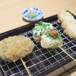 天ぷら串 山本家 - 徳島県産レンコンのだし醤油と芽キャベツ、じいじの椎茸