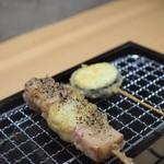 天ぷら串 山本家 - 厚切りベーコンカマンベールとクリームチーズの海苔巻き揚げ