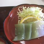 榧の木 - こんにゃくの刺身。酢味噌で食べます。