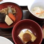 榧の木 - 野菜炊き合わせ、なます、厚揚げ・柚味噌