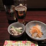 ふくちゃん - 瓶ビールと小鉢二種