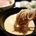 そばカフェ ニノ - 胡桃のツブツブ食感を残した、甘くて香ばしいタレにたっぷり浸けて頂きました。