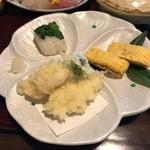 四季のお料理 きくや - 雪どり(1500円)・出し巻き玉子は、ふっくら感◎鰆の天ぷらは、外はサクサク、中はホロホロ、うましっ!! 2019/01/05
