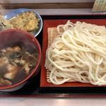 温井製麺 - 肉汁(大盛) 天ぷら