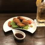 國酒と料理 墨流し - 白金豚の串揚げ